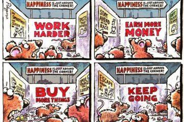 האושר ממתין ממש מעבר לפינה… קריקטורה וציטוט על החיים שאתם לא רוצים לרצות